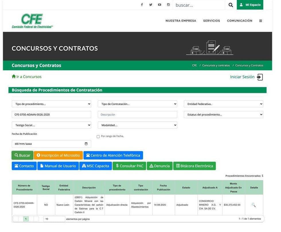 Contrato con empresa minera peligrosa con la CFE en Coahuila.