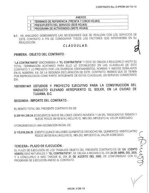 COntrato Jaime Bonilla Viaducto elevado, corrupción, Baja California