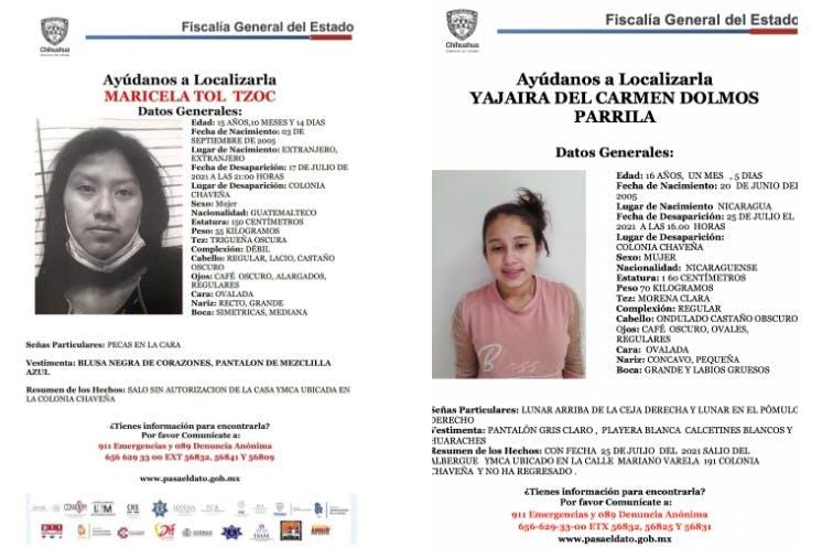 Adolescentes migrantes desaparecidas en Juárez.