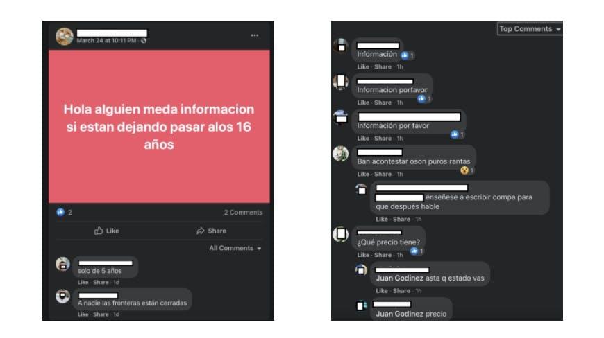 Chats con información falsa para migrantes.