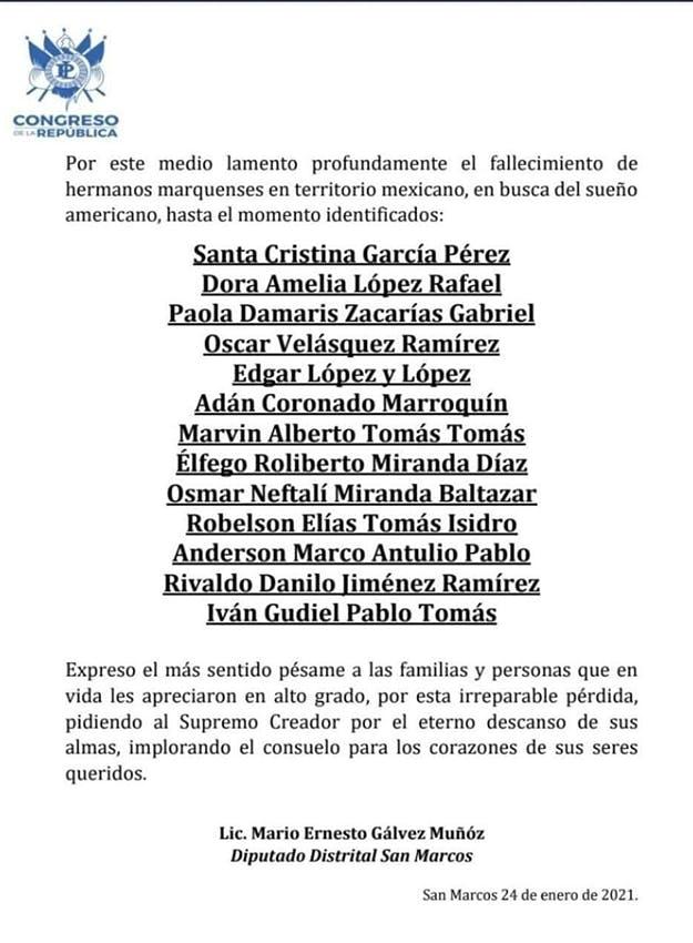 Identificación de guatemaltyecos muertos en Tamaulipas