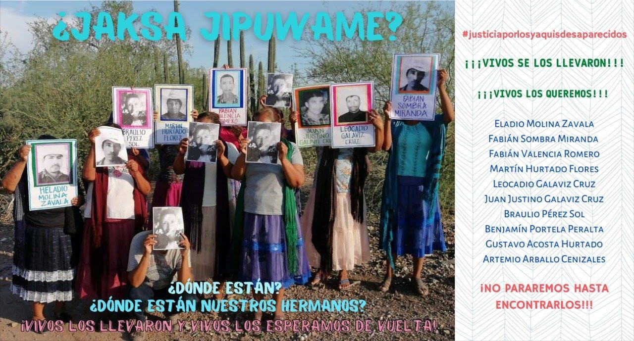 Cartel de desaparecidos de la comunidad Yaqui.