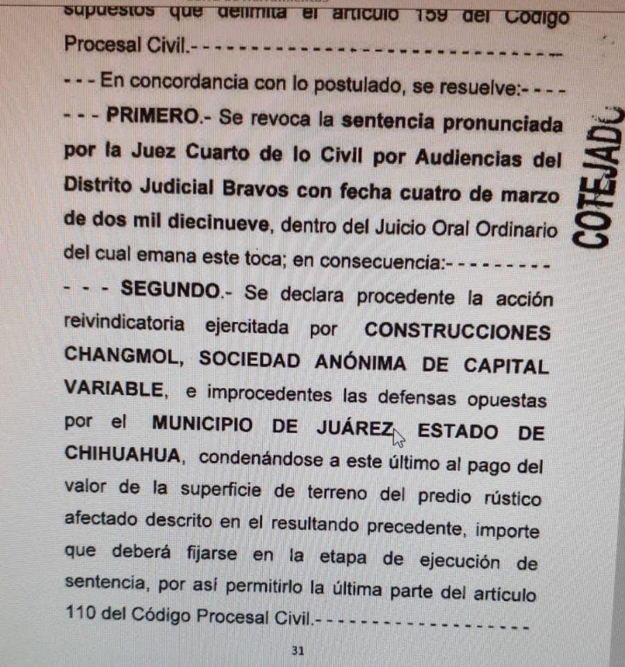 Sentencia contra el municipio de Juárez.