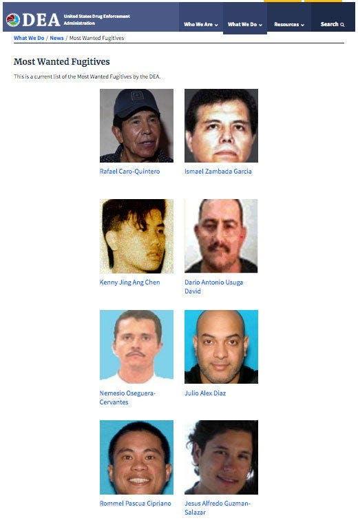 Los más buscados por la DEA
