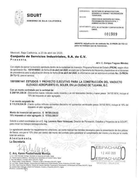 COntratos de viaducto elevado Tijuana, Bonilla Valdez, corrupción