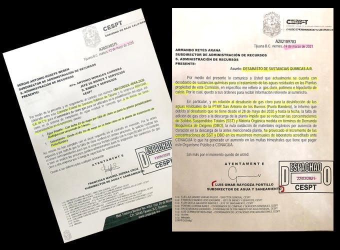 Documentos de la CESPT que comprueban la contaminación del agua en BC