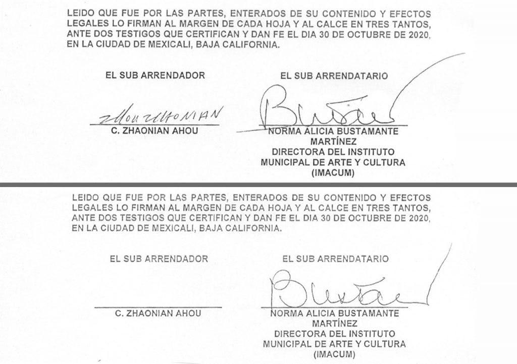 Contratos dle muso Wok con firmas falsificadas.