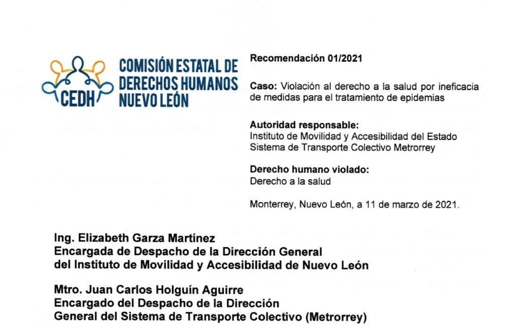 Recomendación gobierno de Nuevo León.