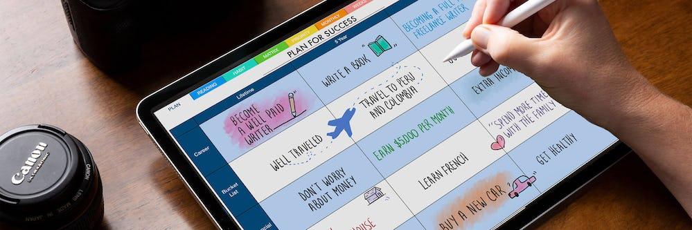 digital planner demo image on ipad