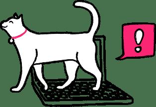 Cat walking on a keyboard