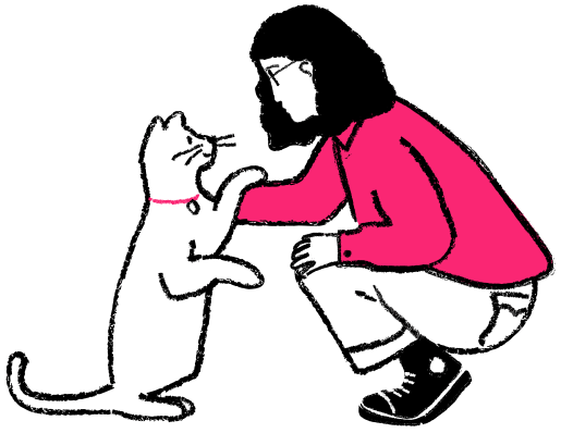 Cat pawing a woman