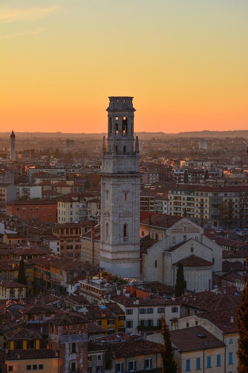 Ancient tower at sunset, Verona, Italy