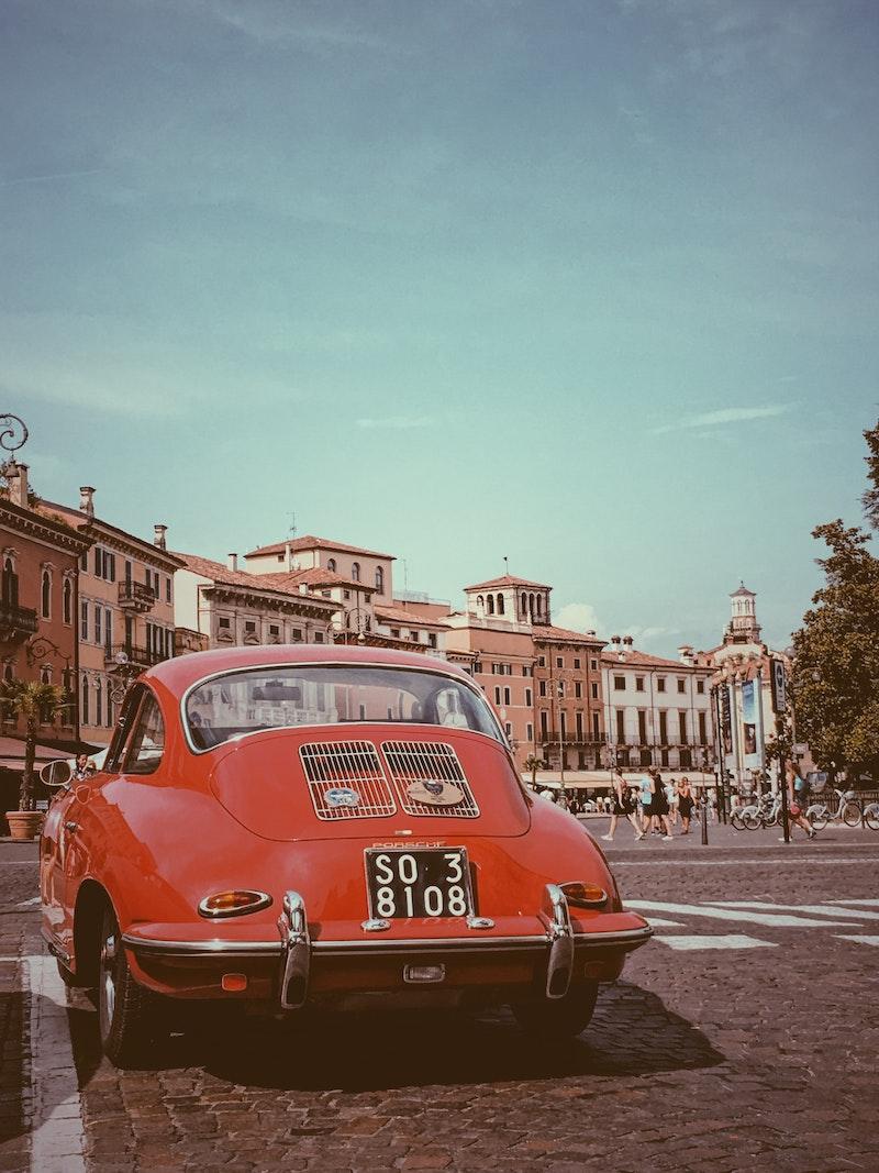 Vintage sports car in Verona, Italy
