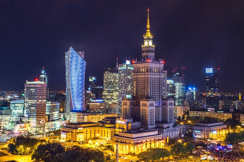 Warsaw skyline at night