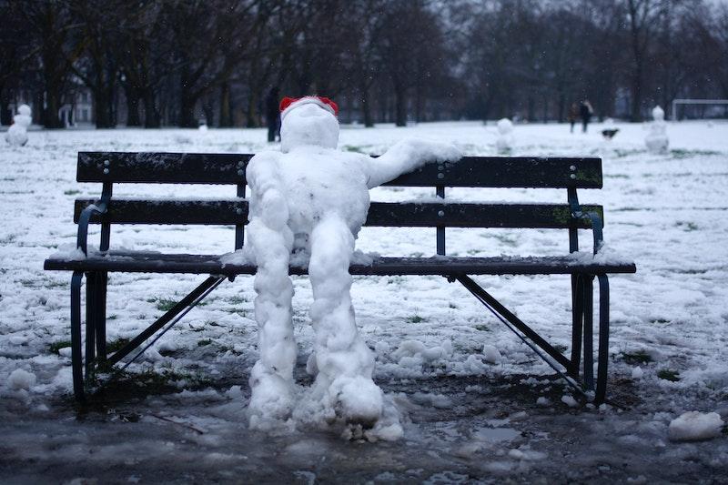 Snowman in park in London, UK