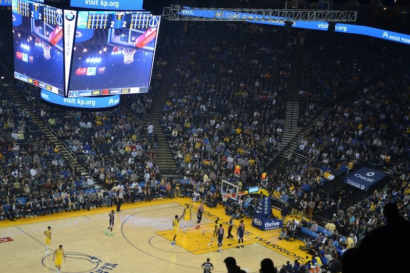 Basketball game at Oakland Coliseum, California