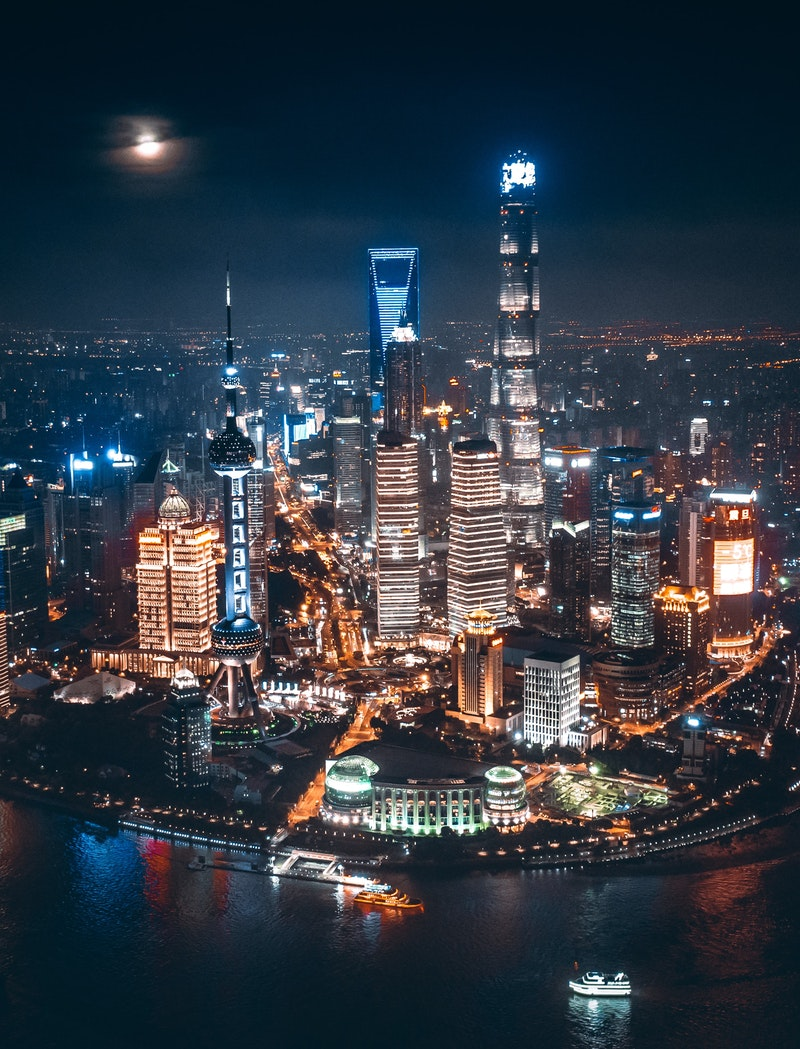 Night sky over Shanghai, China