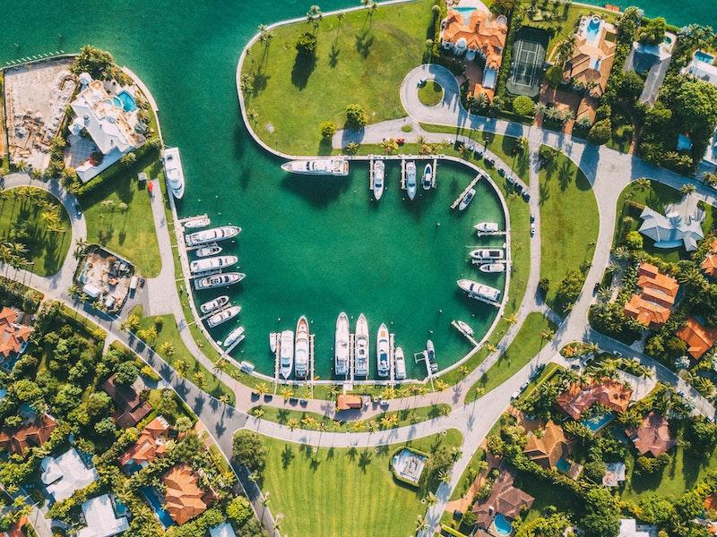 aerial view of resort boat docks