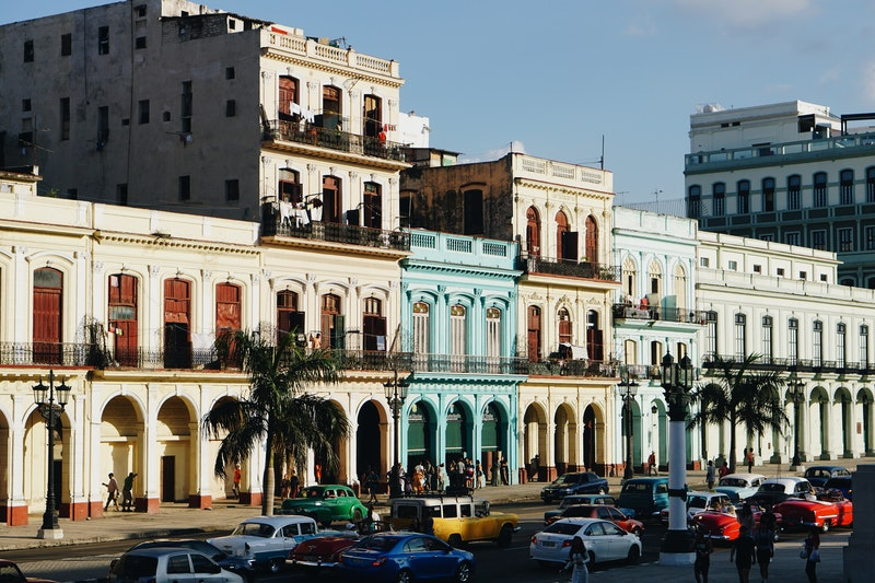 building façades on street in Havana