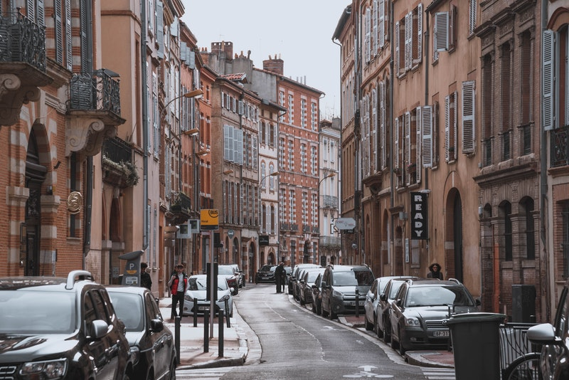 Narrow street in Toulouse, France