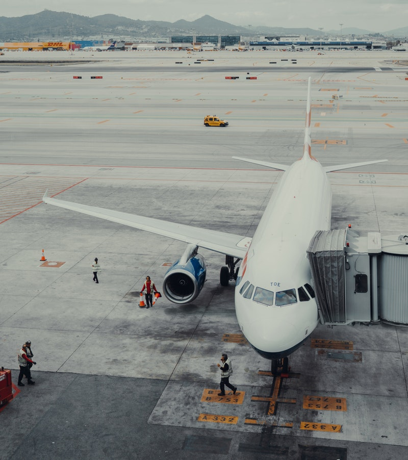 Plane loading at Barcelona Airport, Spain