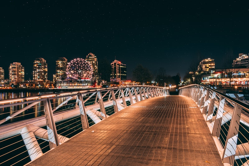view of Vancouver skyline from bridge