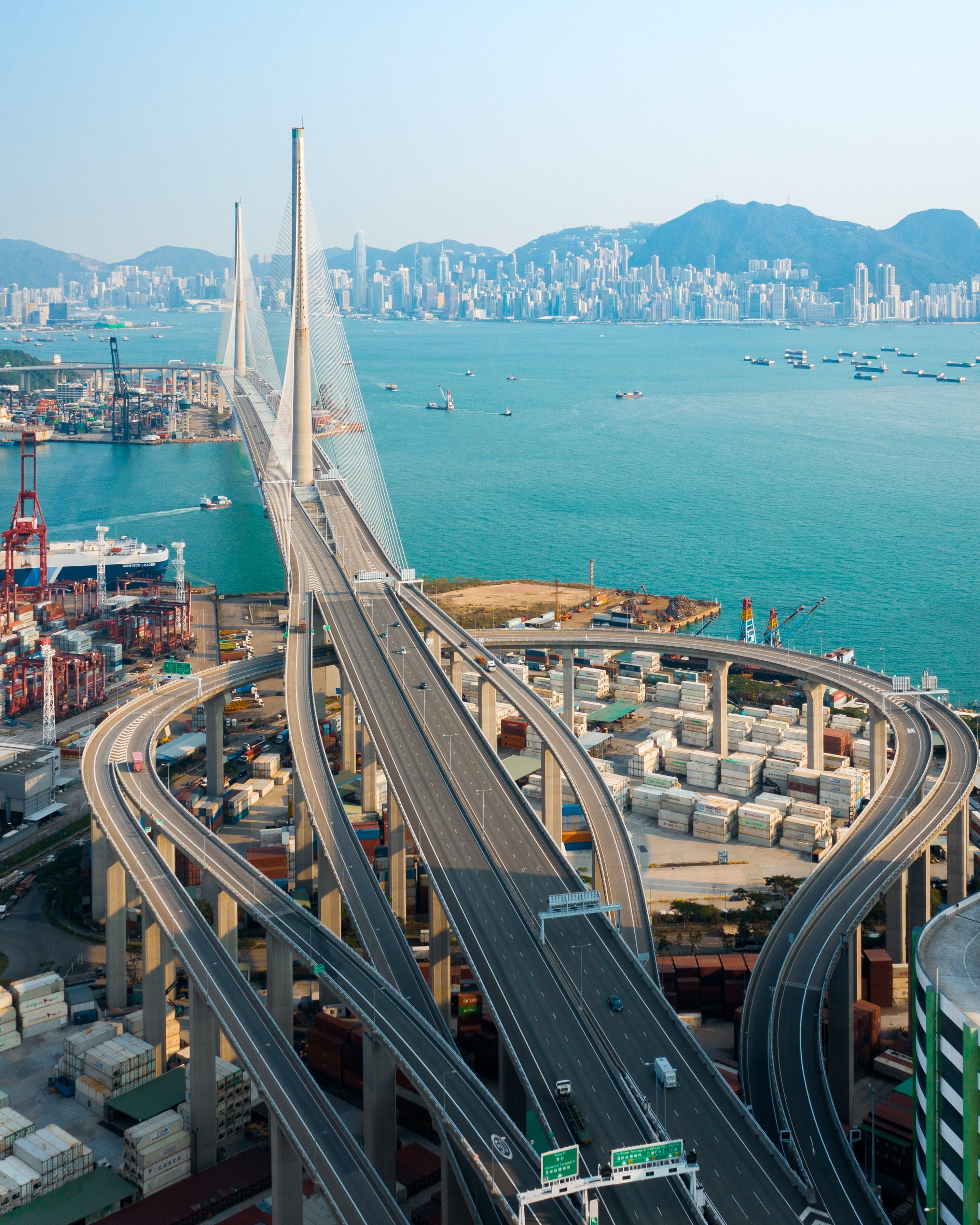 Suspension bridge in Hong Kong, China