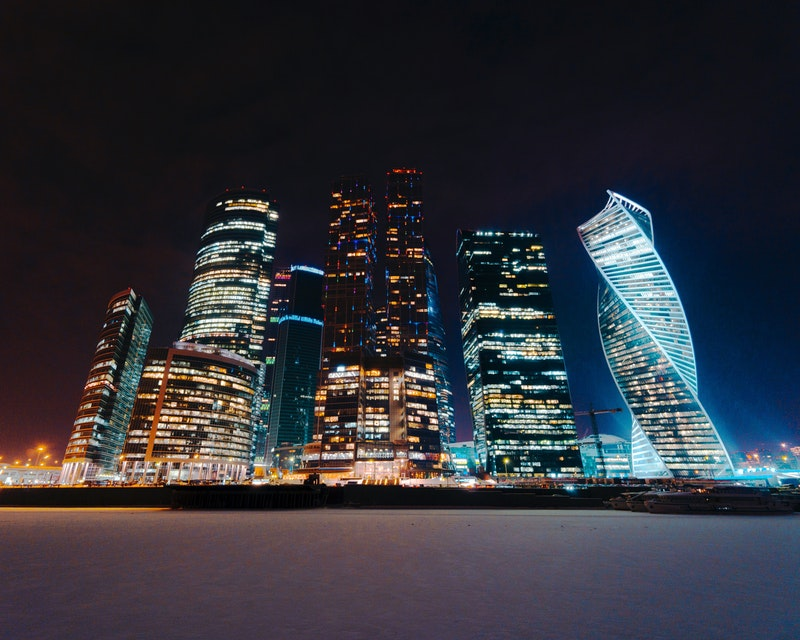 Moscow skyline at night