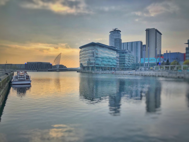 view MediaCity UK across canal