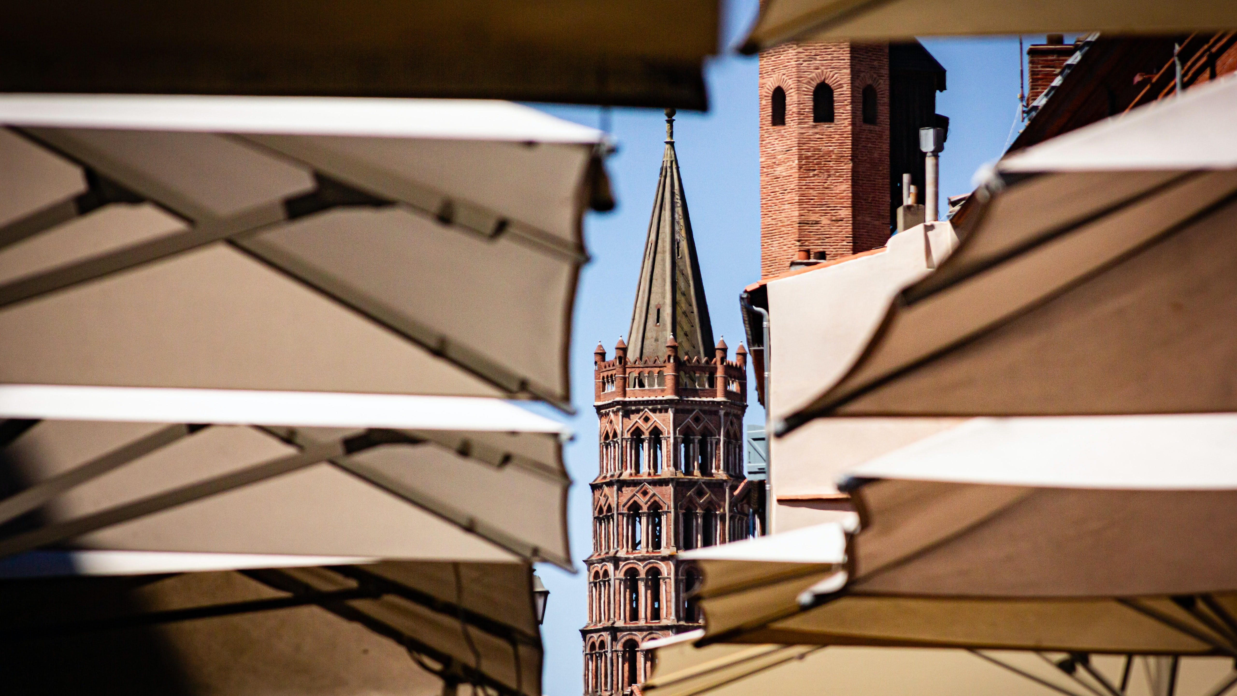 View of church spire in Toulouse, France