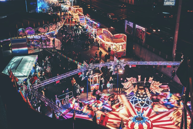 Amusement park at night, Cologne, Germany