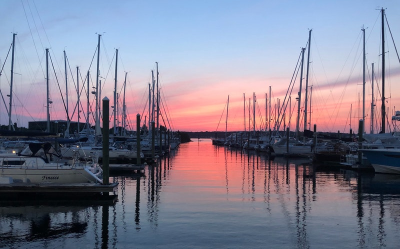 Boats in harbor, Portsmouth, USA