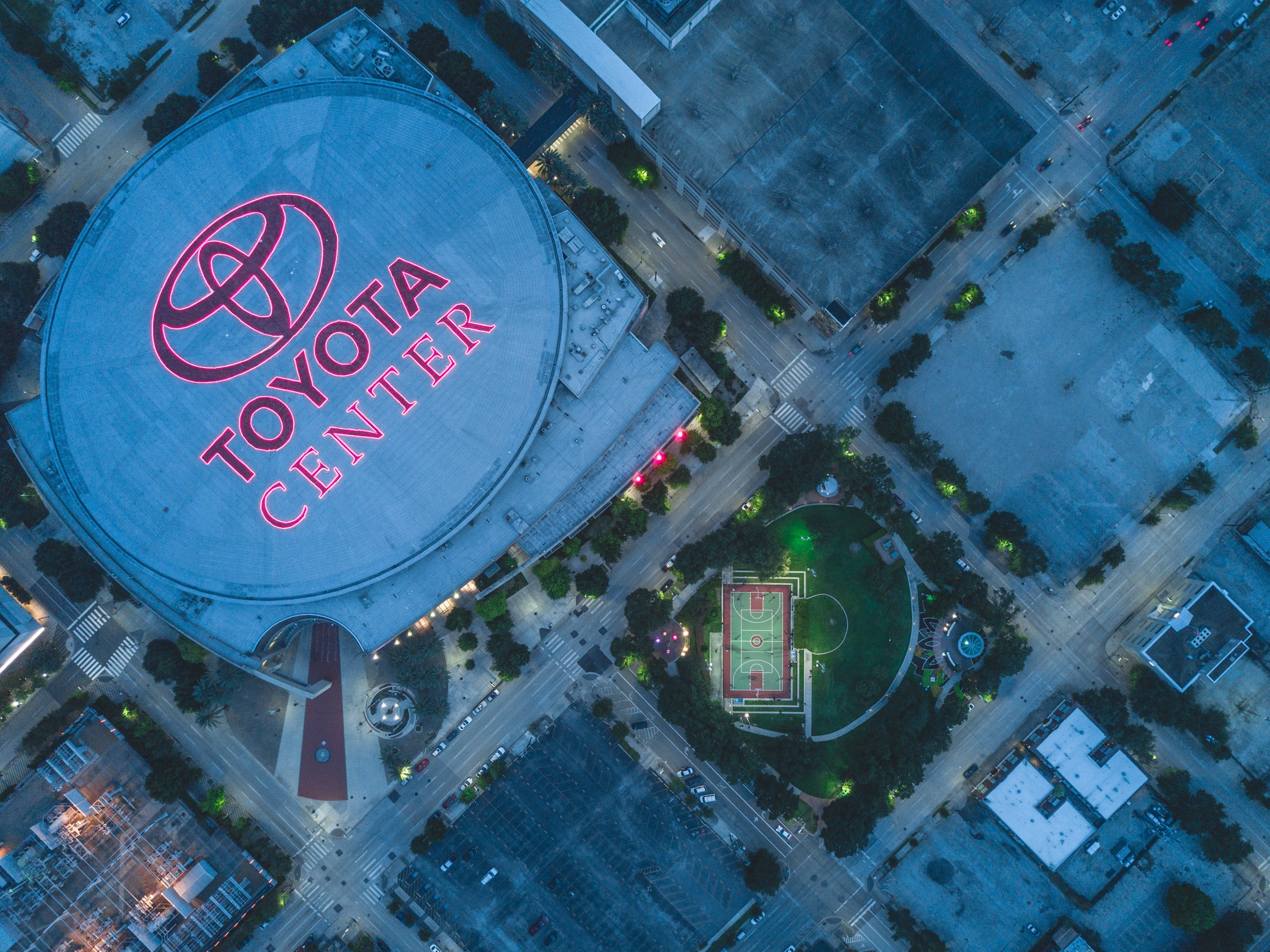 aerial view of Toyota Center arena