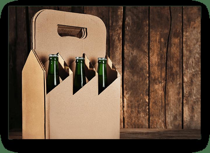 Tragekarton aus Wellpappe für sechs Flaschen