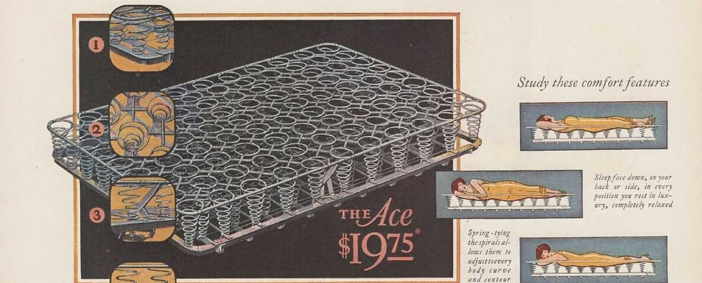 Vintage ad of coils in a mattress