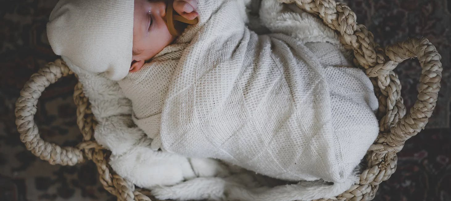 Swaddled baby in a basket