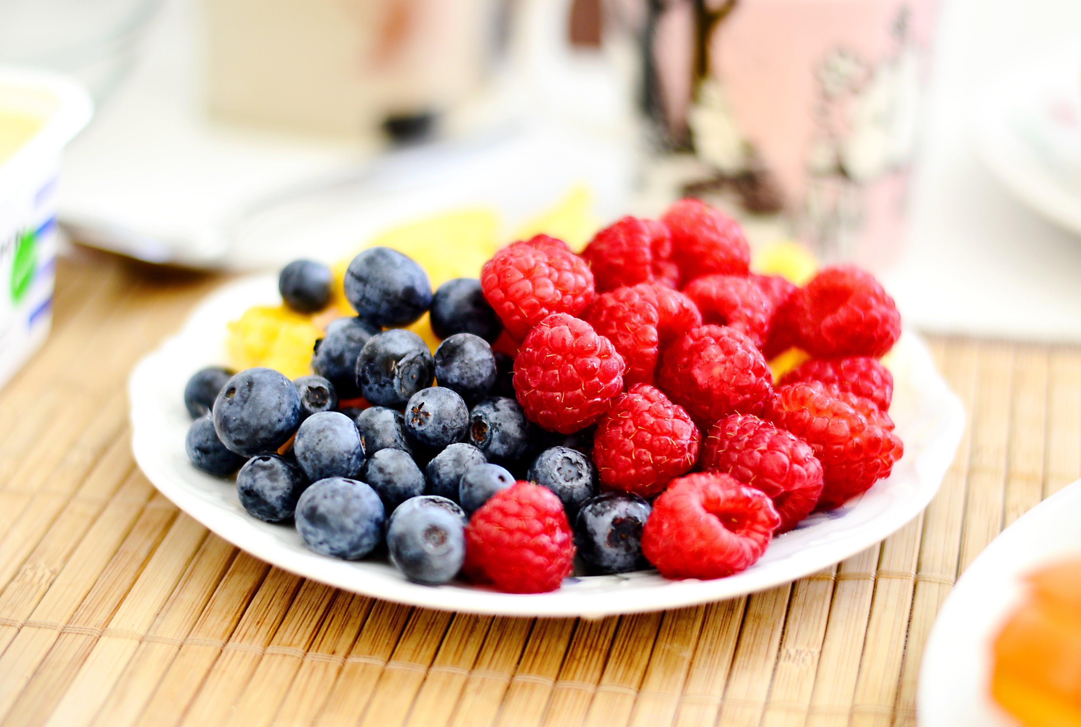 blueberries and raspberries