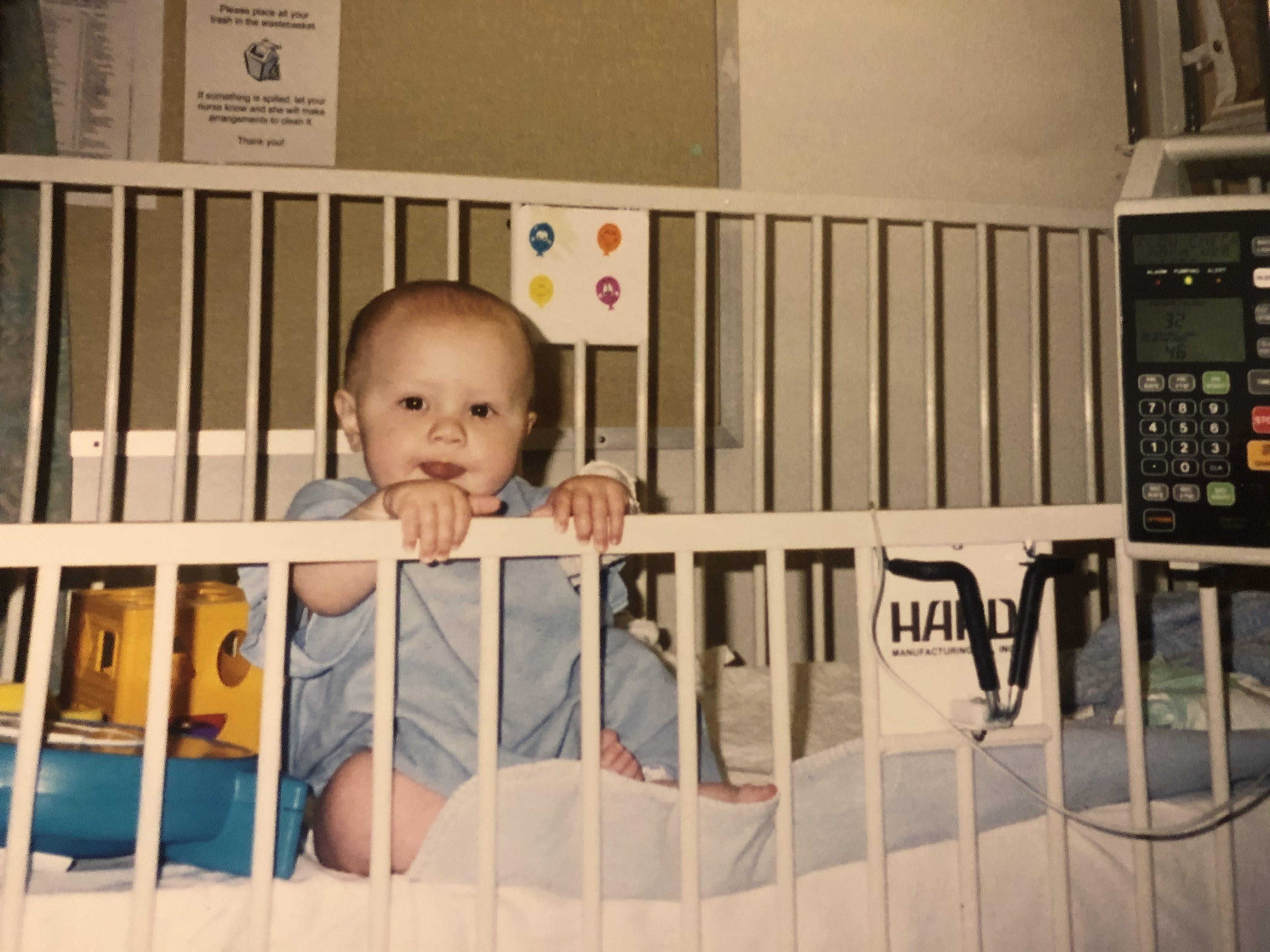 baby in hospital crib