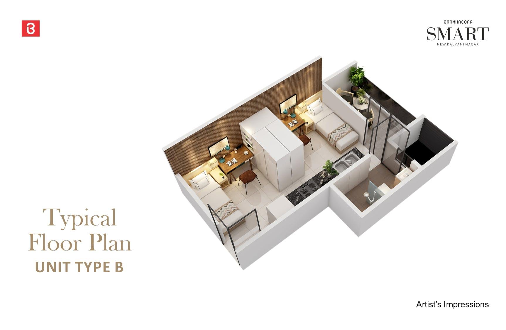 Studio Type B Floor Plan