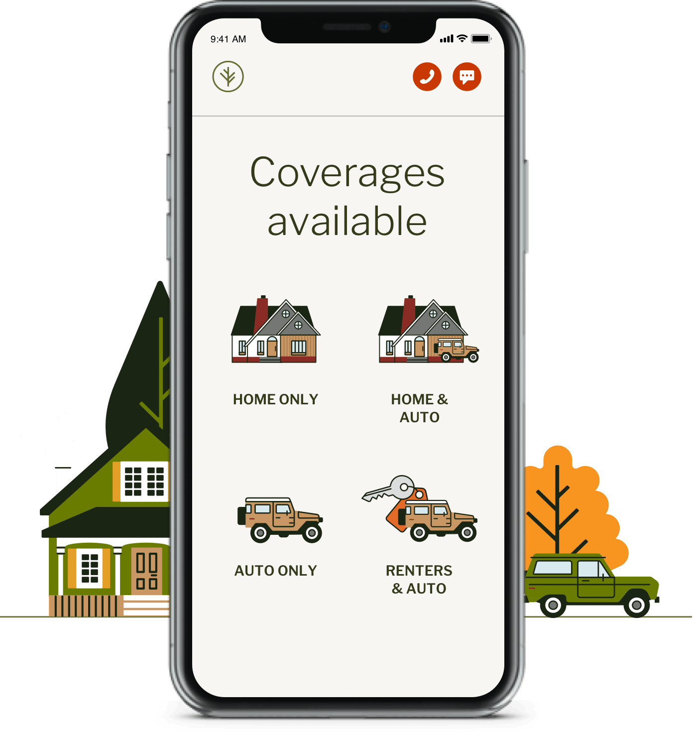 Cell phone showing Branch Insurance offering home, auto, renters and umbrella insurance packages