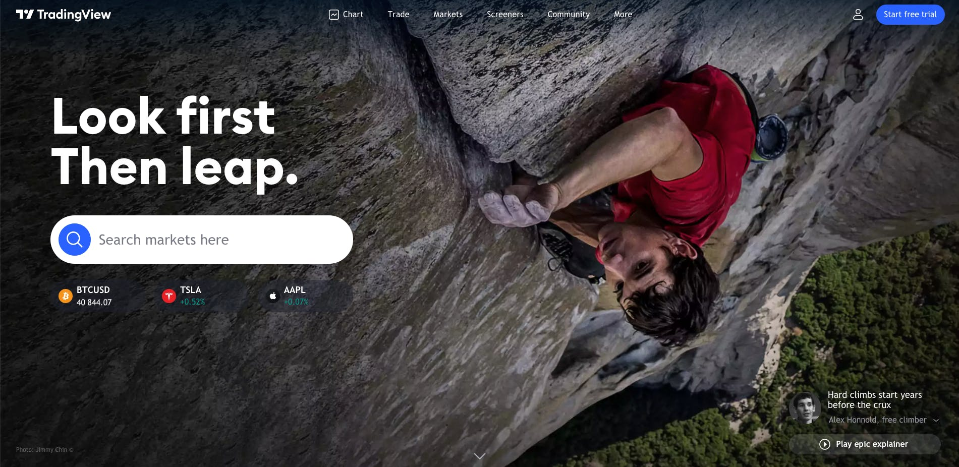 TradingView's new homepage