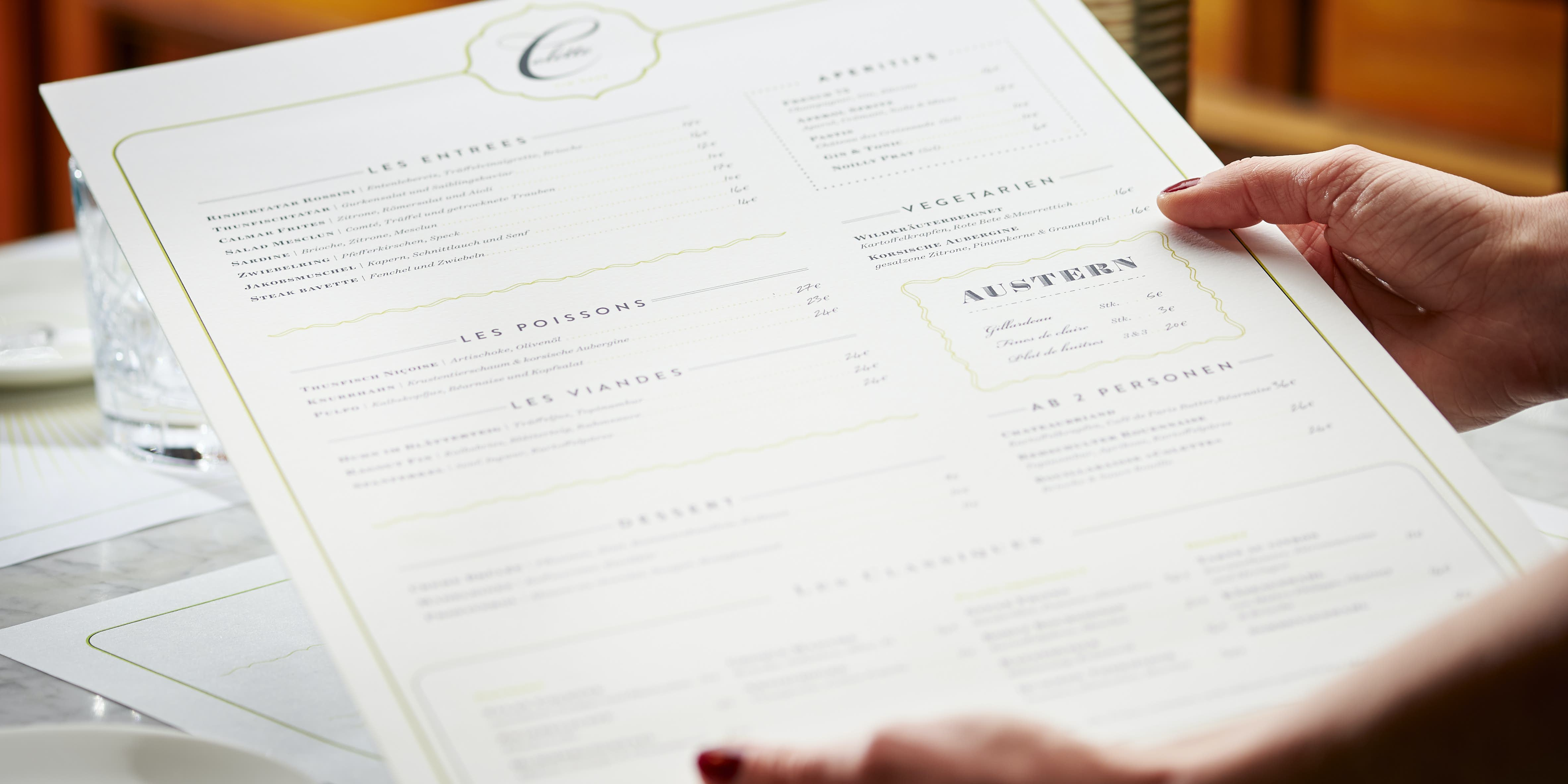 Brasserie Colette Konstanz - Speisekarte mit modern interpretierten französischen Gerichten à la Tim Raue