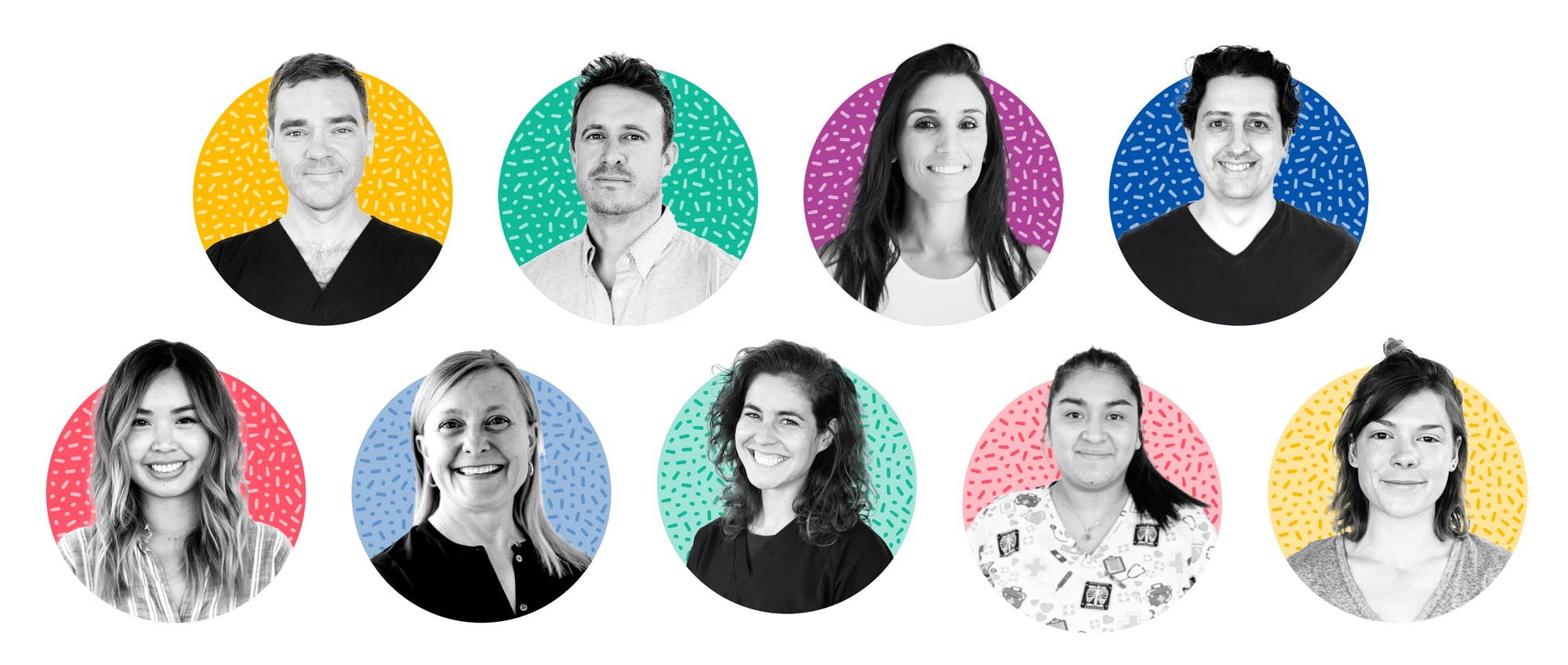 Black and white headshots of Brave Care's founders and staff.