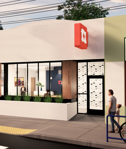 Rendered image of an outside view of the new Sellwood Clinic