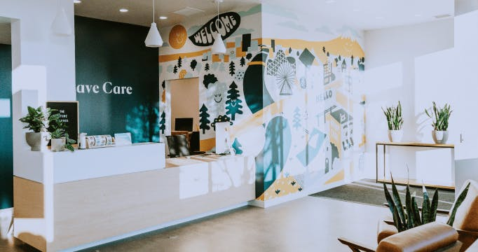 Interior view of Brave Care's Sellwood Clinic lobby