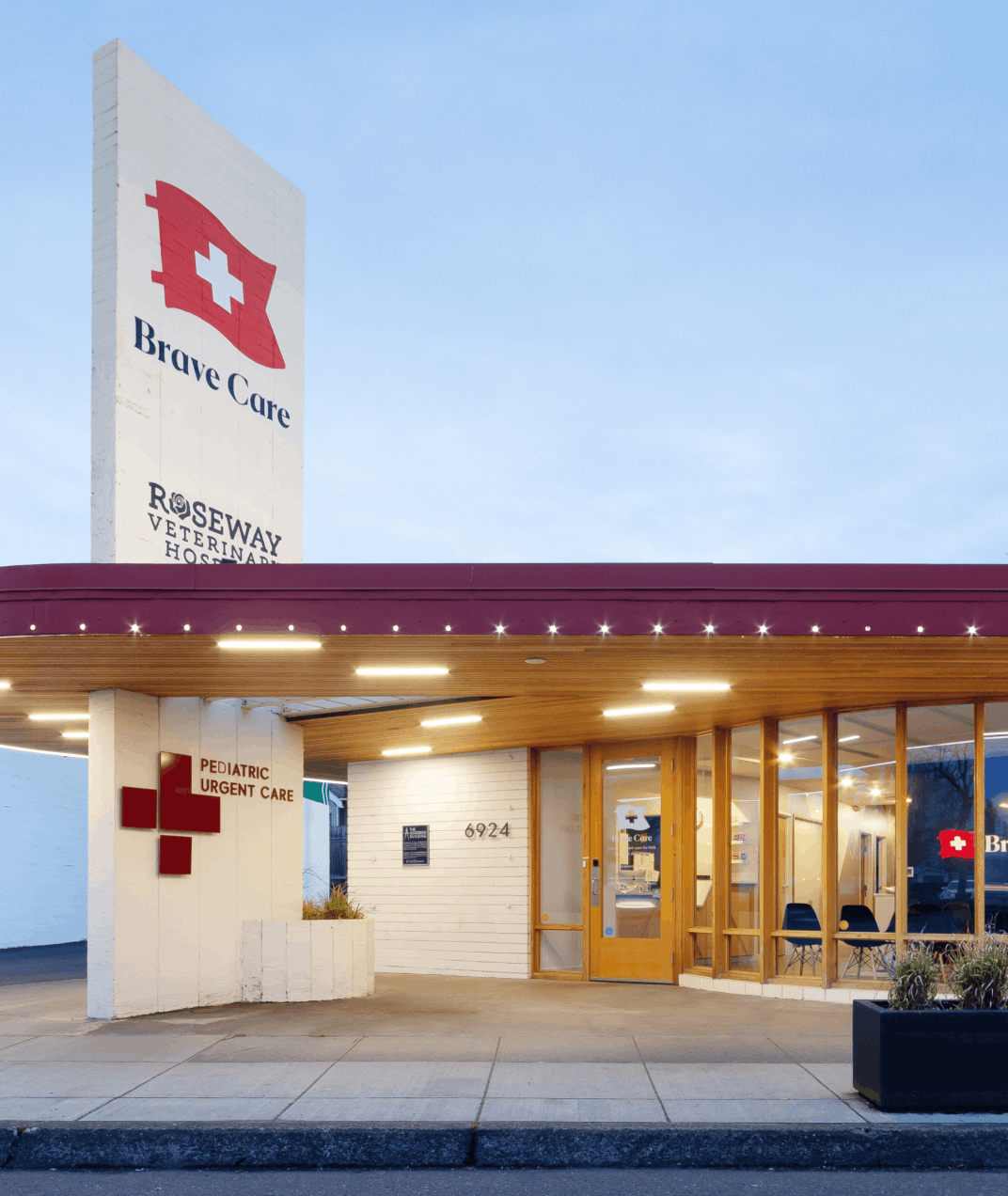 View of the NE Portland Clinic during sunset