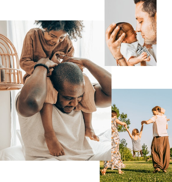 Three images. Man carries child on his shoulders. Man holding a baby. Child swinging on the arms of two women.