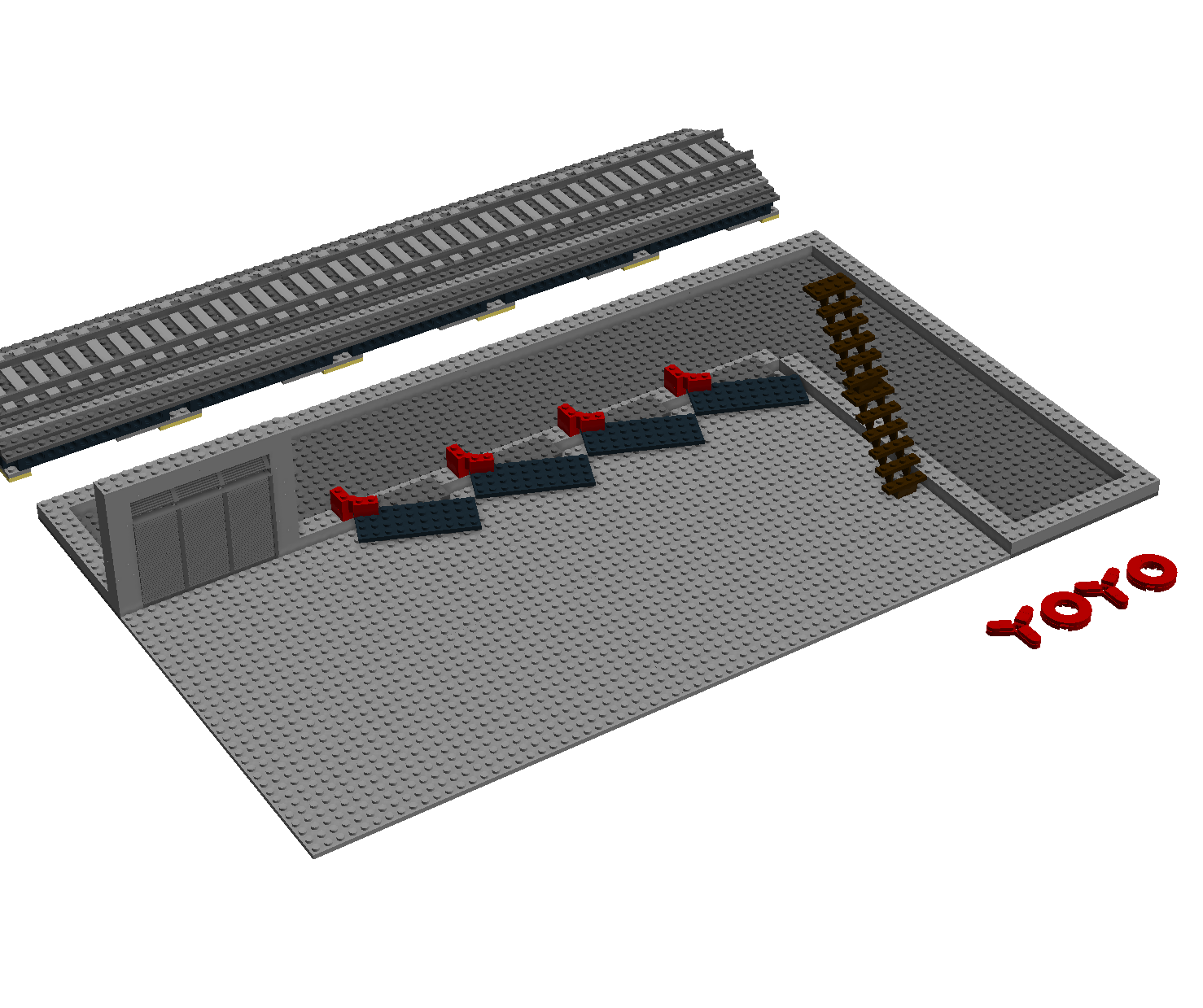 I experimented with making the docking terminals at an angle to save space.