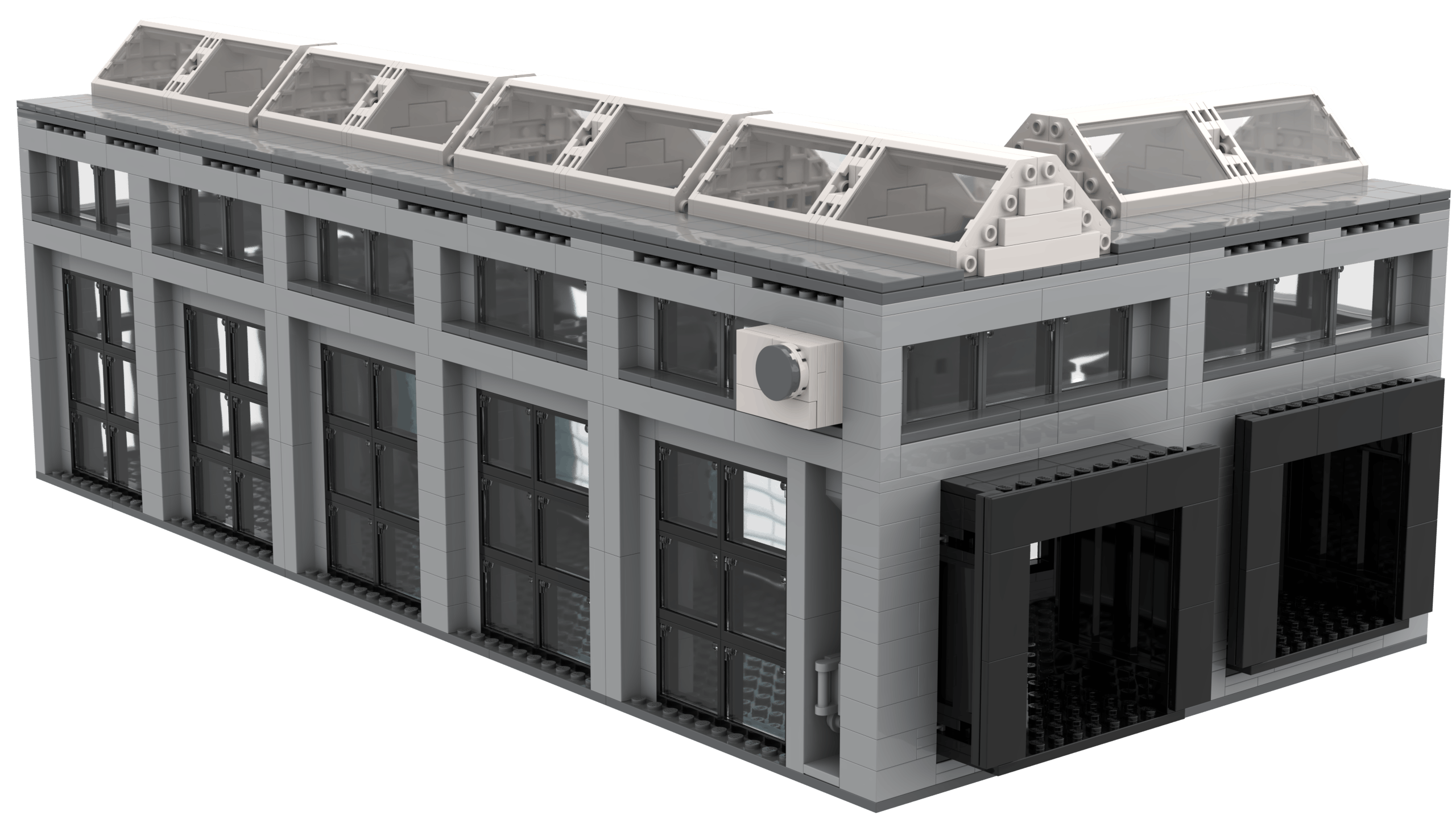 3D render of the backside of the Logistics Terminal MOC. Rendered using Stud.io.