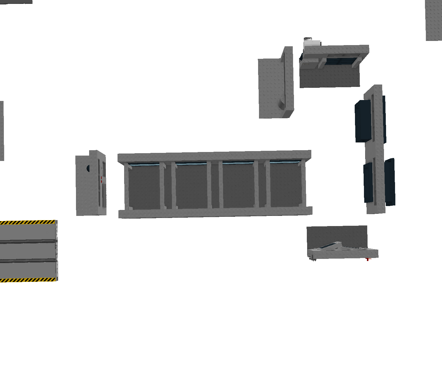 Since the beginning, I always made sure to have in mind that the warehouse should be modular. Therefore it should be able to be assembled in different configurations depending on the usecase. The modules uses the Moduverse Standard.